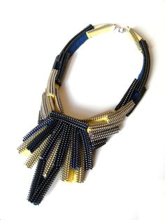 Dark Magic Zipper Necklace ...wow! what about doing this with cubic RAW??? stunning!