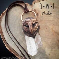 O W L  W I S D O M  Copper RELIC Pendant on by SotoCollective