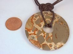 Safari Jasper Donut Gemstone Knotted Leather and Argentium Sterling Silver Clasp Necklace - product images  of