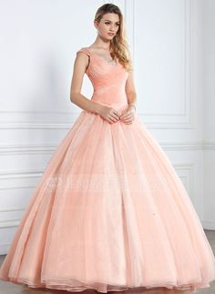 Ball-Gown V-neck Floor-Length Organza Satin Quinceanera Dress With Ruffle Beading Sequins (021002897) - JenJenHouse