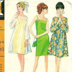 1960s McCalls 8805 Sheer Overdress and Slip Dress Pattern Size 10 B 31   PatternGate - Craft Supplies on ArtFire