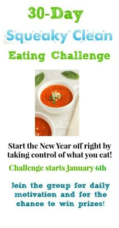 30-Day Squeaky Clean Eating Challenge -starts January 6th!