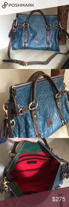 "Dooney & Bourke Ostrich Florentine Large blue Dooney in excellent condition!  I do not have the dust bag but this will be shipped securely.  Measures 16"" x 14 1/2"" Dooney & Bourke Bags Satchels"