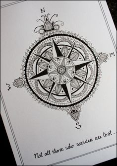 Compass tattoo drawing.