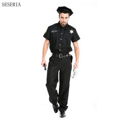 SESERIA Halloween Costumes Adult Police Dirty Cop Officer Costume Top Shirt Fancy Cosplay Clothing for Men #Affiliate