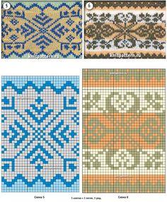 Рисунки вязаных спицами образцов узоров со схемами. Страница №74.