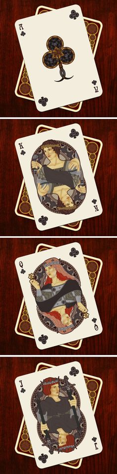 NOUVEAU Playing Cards - Ace of Clubs / King of Clubs / Queen of Clubs / Jack of…