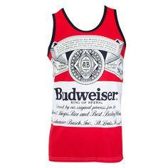 dee109446d053 Budweiser Men s Red Large Label Logo Tank Top