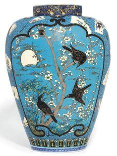A Rare Large Cloisonné Enamelled Arita Vase Signed Shippo Takeuchi Chubei , Meiji Period (late century) Japanese Vase, Japanese Porcelain, Japanese Pottery, China Porcelain, Vases, Art Japonais, Kintsugi, Objet D'art, Chinoiserie