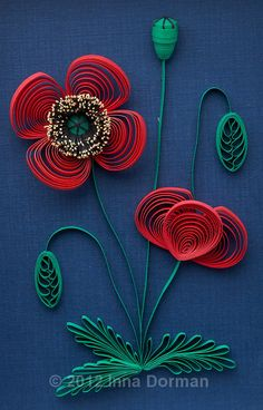 Paper filigree / paper quilling art: Poppy flowers. Framed with glass, OOAK