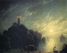 Robert Salmon (British 1775 – ca. 1845) [Luminism, Maritime, Seascape] Moonlight along the Coast.