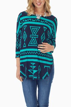 Green-Black-Tribal-Printed-3/4-Sleeve-Maternity-Top  #maternity #fashion #cutematernityclothes #cutematernitytops