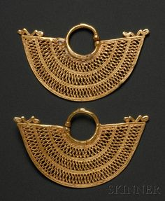 Colombia ~ Sinu | Gold Earrings | Pre-Columbian; ca. 800 - 1500 AD