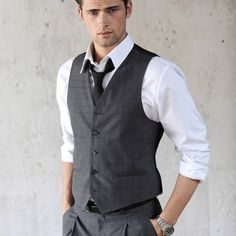 Men's Fashion: Charcoal Waistcoat / Vest, White Shirt, Charcoal Pants & Tie.