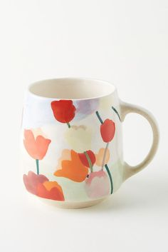 Tulip Mugs, Set of 4 by Anthropologie in Assorted, Mugs Pretty Mugs, Cute Mugs, Cup Design, Deco Design, Ceramic Pottery, Pottery Art, Painted Coffee Mugs, Blue Dinnerware, Pottery Painting Designs