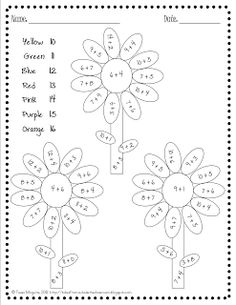 Kindergarten Math Coloring Worksheets Free Color By Number Pages For Addition Facts Within 20 Math Worksheets, Math Resources, Math Activities, Coloring Worksheets, Math Classroom, Kindergarten Math, Teaching Math, Classroom Decor, 1st Grade Math