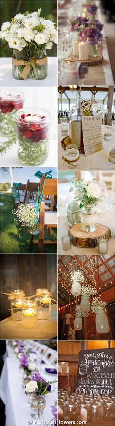 rustic wedding ideas / mason jar rustic wedding decor ideas - http://www.deerpearlflowers.com/50-ways-to-incorporate-mason-jars-into-your-wedding/
