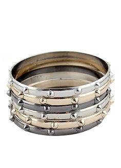 Gold Silver Rivet Multilayers Bracelet US$5.83