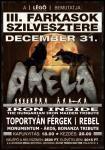 Ebben az évben immáron harmadjára gyűlik össze az Akela-rajongók népes tábora! A Farkasok Szilvesztere idén új helyszínen, a főváros legfrissebb rock-szentélyében, a Nagykörúton található Légó Clubban kerül megrendezésre. Az Akelán kívül színpadra lép a Rebel, a The Iron Inside - Hungarian Iron Maiden Tribute Band, a Monumentum - Bonanza Banzai, Ákos Tribute és a Toportyán Férgek is!
