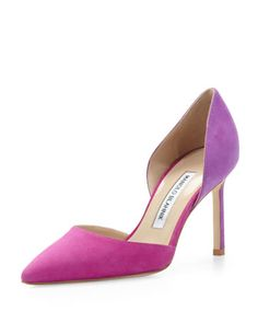 Tayler Bicolor Suede d\'Orsay, Fuchsia/Purple by Manolo Blahnik at Neiman Marcus.