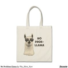 No prob-llama! Check out this cool llama tote bag that is very funny and super cute. #animal #humor