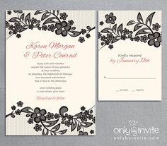 Vintage Black Lace Wedding Invitation Printable DIY Flowers. $20.00, via Etsy.