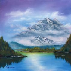Mist in mountains - original mountain landscape oil art painting on stretched canvas Painting Lake Painting, Oil Painting Abstract, Paintings For Sale, Original Paintings, Oil Paintings, Palette Art, Pastel Artwork, Mountain Paintings, Mountain Landscape