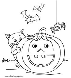 Smiling Pumpkin With Halloween Friends Coloring Page Free Printable Jack O Lantern PUMPKINS Pages For Toddlers Preschool Or Kindergarten