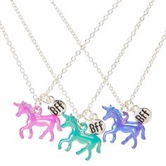 <P>Get cute matching BFF style with this set of best friends necklaces. Thin silver-tone chains are embellished with pastel unicorns with a shiny pearlized finish and a silver BFF tag. Share the cute mystical animals among your besties. Includes one in each color: purple, pink, and mint green.</P><UL><LI>Set of 3<LI>Silver-tone finish<LI>Lobster clasp closure<LI>Unicorn pendants<L...
