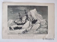 Arctic & Polar Region Prints, HMS Intrepid In Ice, Baffins Bay. Monochrome engraving print dating to circa Antique Prints, Vintage Prints, History Books, Art History, Wood Engraving, Old Paper, Natural History, Victorian Era, Arctic