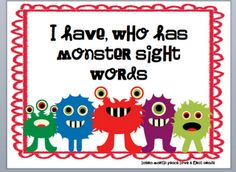 Sight Word Freebie-Monster Style