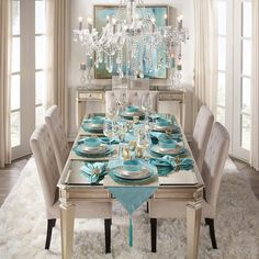 """Z Gallerie on Instagram: """"Table for 6, please! Off Sunday brunching with vibrant aquamarine tableware. Shop this whole dining room with the link in our profile!"""""""