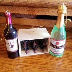 Wine Champagne Bottle Case Ornaments on Mercari Case Of Champagne, Wine Tree, Mini Wine Bottles, Christmas Tree Ornaments, Wine Rack, Products, Wine Bottle Favors, Christmas Tree Toppers, Wine Racks