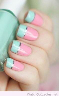 Mint and pink with a silver line manicure