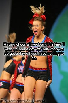 I hurt my hand a month ago and haven't been able to cheer since! I'm dying to tumble again! I can't wait until this stupid brace comes off!!!