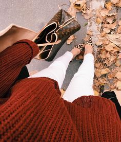 I love this cognac collor! Obvi the bag too but a little out of my price range. Instead of the animal print I would go for some cute booties to match the sweater!