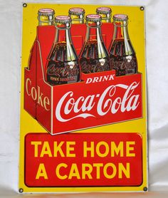 Vintage Coca-Cola Sign Metal Enamel Poster Restaurant Bar Signs Vintage Advertising Man Cave Accents Wall Décor by alltravelerstore on Etsy https://www.etsy.com/listing/171230279/vintage-coca-cola-sign-metal-enamel