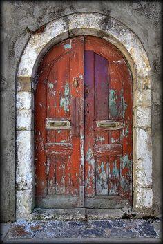 worn arched doors