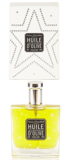 Chateau d'Estoublon's extra virgin olive oil in stars flacon with crystal studded box.