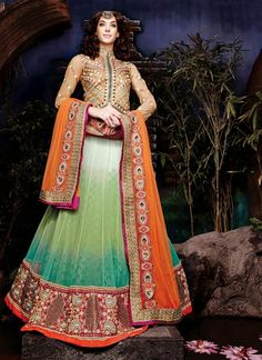 Marvelous Honeydew, Off White & Sea Green Lehenga Choli