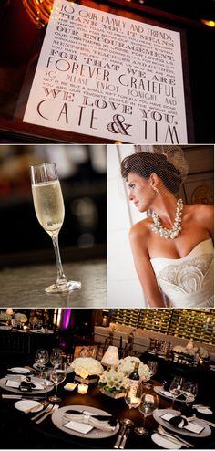 Letterpress Invitations, elegant small chic affair, black & white decor, purple bold lighting via EVOKE