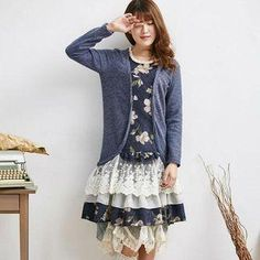 YesStyle - Blue Hat Long-Sleeve Layered Floral Dress - AdoreWe.com