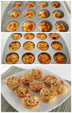 Muffins de pizza --might be a good way to make mini cauliflower pizzas Pasta Recipes, Cooking Recipes, Healthy Recipes, Good Food, Yummy Food, Snacks Für Party, Kids Meals, Brunch, Food Porn