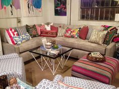 love the grey couch with colorful pillows.