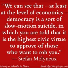 We can see that - at least at the level of economics - democracy is a sort of slow-motion suicide, in which you are told that it is the highest civic virtue to approve of those who want to rob you. - Stefan Molyneux