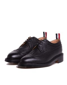 Black Pebble Wingtip Shoe Black