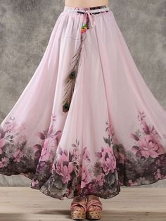 Swans Style is the top online fashion store for women. Shop sexy club dresses, jeans, shoes, bodysuits, skirts and more. Floral Chiffon Maxi Dress, Chiffon Skirt, Skirt Fashion, Boho Fashion, Fashion Dresses, Spring Dresses, Day Dresses, Bohemian Mode, Cute Skirts