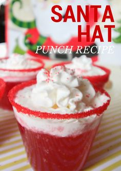 Santa Hat Holiday Punch Recipe – Just Short of Crazy Mix up a fun holiday punch using Dasani Sparkling Water. Nothing better than a little bit of Santa Hat Punch to make your party merry and bright. Christmas Party Drinks, Christmas Snacks, Christmas Cooking, Holiday Drinks, Holiday Treats, Fun Drinks, Yummy Drinks, Holiday Recipes, Drinks Alcohol