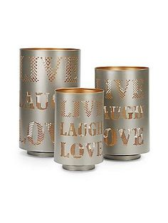 Live Laugh Love Metal Lanterns/Set of 3 - SaksOff5th