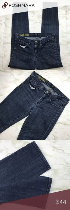 J. Crew Factory Toothpick Jeans Medium Dark Wash Skinny jeans are a classic for a reason, they look good on everyone! These dark wash J.Crew skinnies look just as good with sneakers as they do with heels. The length is perfect for fall when you tuck them in your boots. In excellent used condition and from a smoke free home. Check out the rest of my closet to create your own custom bundle! J. Crew Factory Jeans Skinny